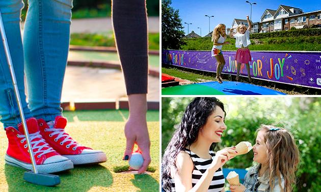 Midgetgolf + trampolinespringen + ijsje