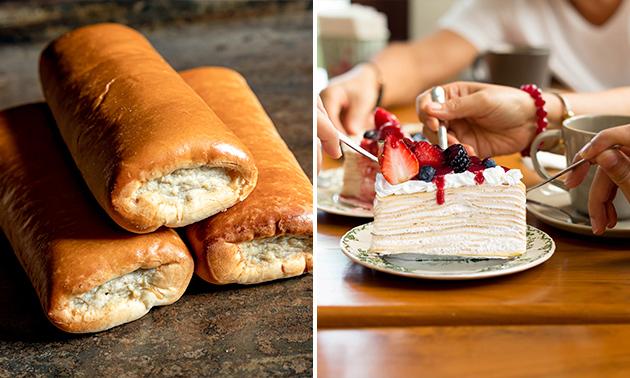 Afhalen: 6 worstenbroodjes en 6 gebakjes naar keuze