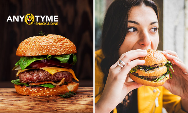Luxe burger + friet + saus bij AnyTyme
