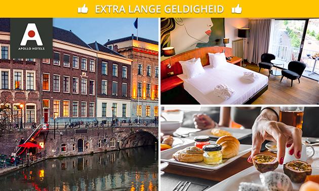 Overnachting + ontbijt voor 2, 3 of 4 in hartje Utrecht