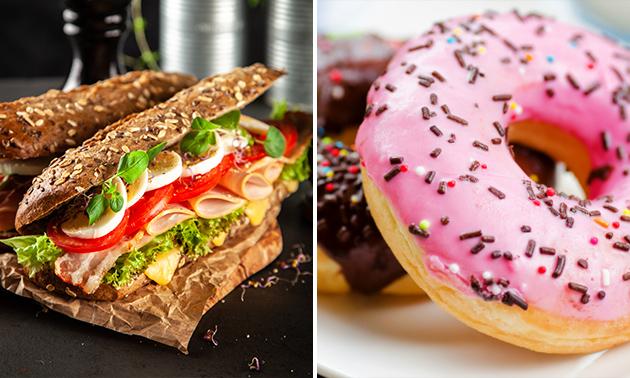 Zum Abholen: Brötchen + Getränk + Donut