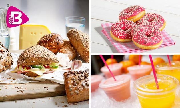 Broodje + sap + donut bij Bakker Bart