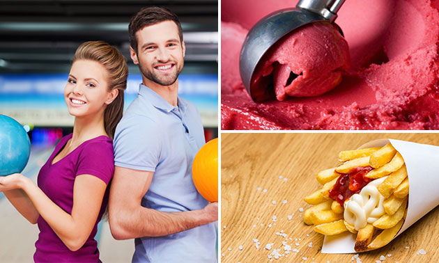 Bowlen (1 uur) + friet + snack + ijsje