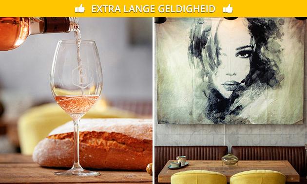 Glas wijn + mixplateau bij Brew