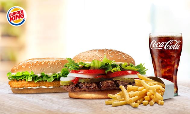 Een large menu naar keuze bij Burger King