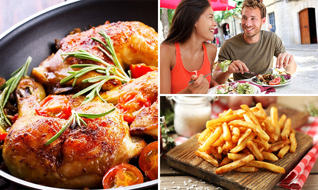 1/2 Hähnchen + Pommes + Salat bei Chicken and Chips