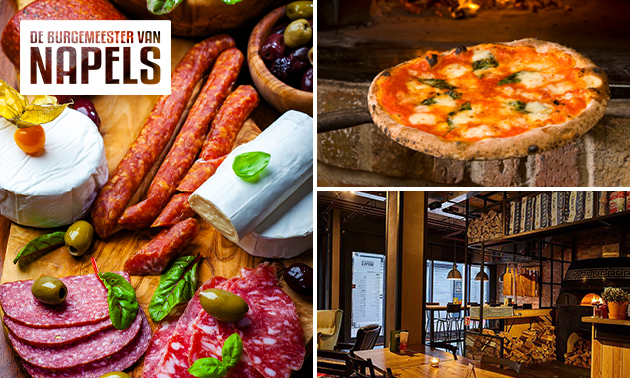Afhalen: borrelplank + wijn OF pizza's + tiramisu
