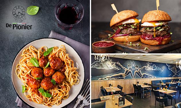 Afhalen: burger of pasta + fris bij De Pionier