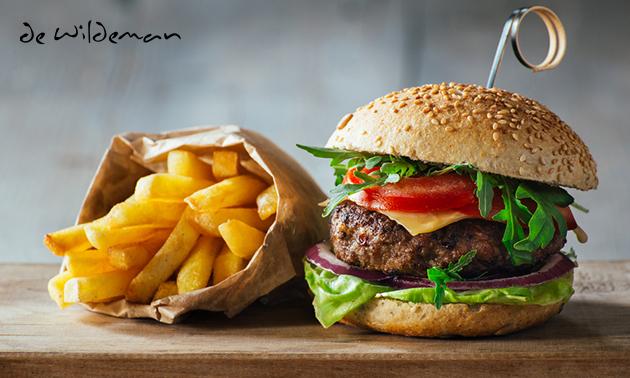 Afhalen: burger + friet + frisdrank bij De Wildeman
