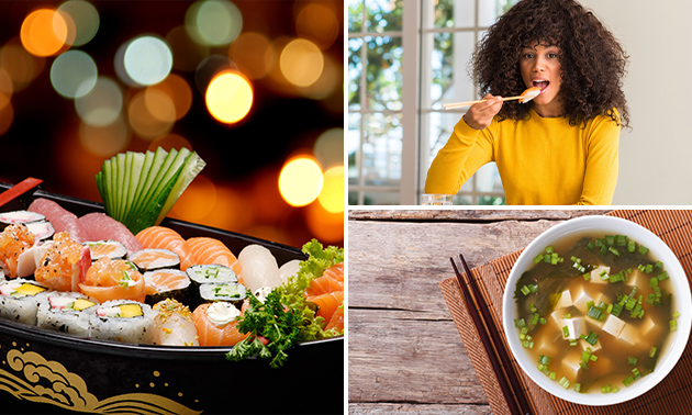 Sushiboot + misosoep + salade in hartje Doetinchem