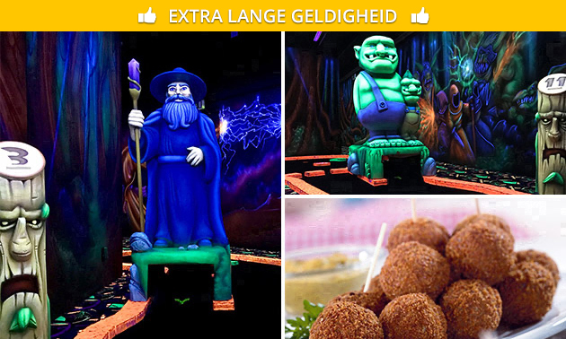18 holes glowgolf + borrelhapjes of diner