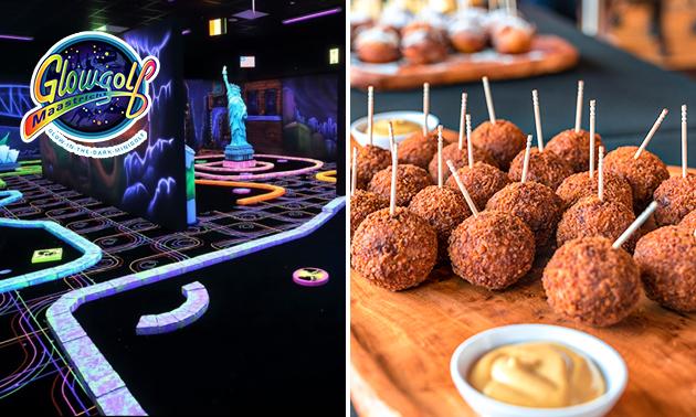 18 holes glowgolf + borrelhapjes óf diner