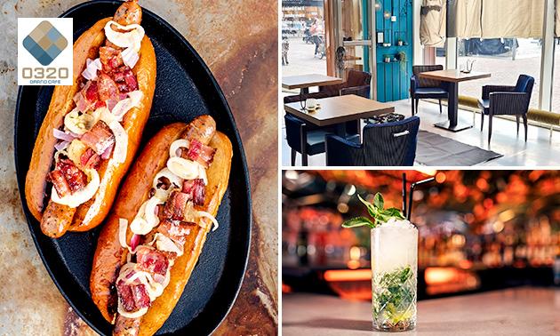 Hotdog naar keuze + evt. friet + salade + cocktail