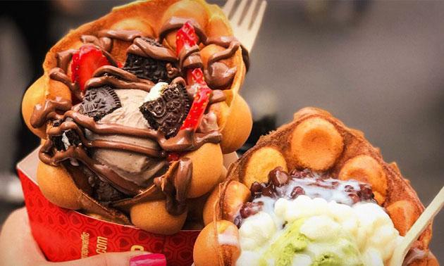 Afhalen: Hong Kong egg waffle + ijs + toppings + drankje