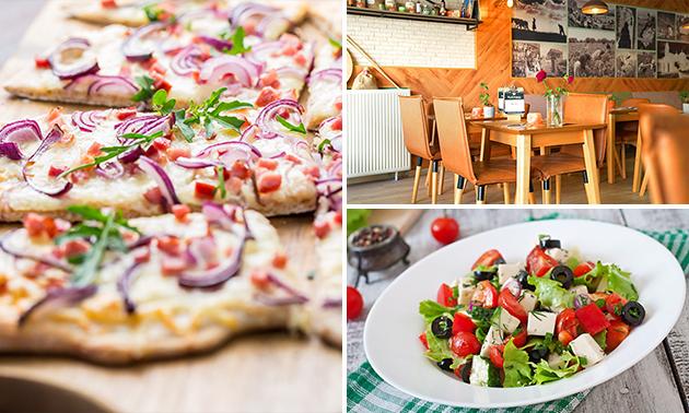 Afhalen voor 2 personen: Griekse pizza + salade + frisdrank