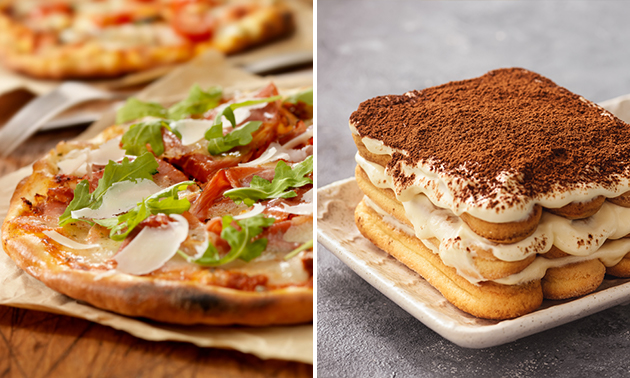 Afhalen: pizza naar keuze + tiramisu