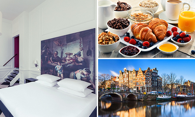 Overnachting voor 2 + ontbijt + late check-out in hartje Amsterdam
