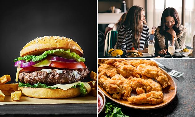Burger oder Wrap + Pommes + Dips + Getränk