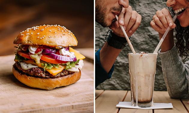 Afhalen: burgermenu + milkshake