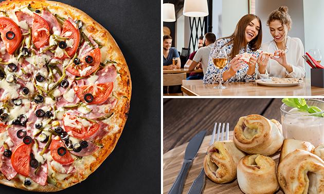 2 große Pizzen + Pizzabrötchen