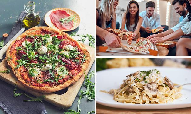 Afhalen: pizza + drankje óf pasta + dessert