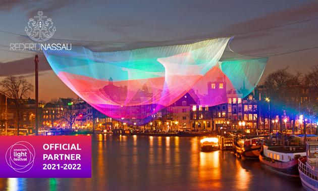 Schifffahrt (90 Minuten) während des Amsterdam Light Festivals