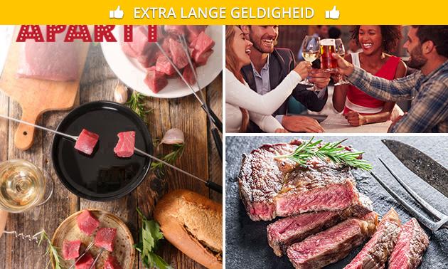 Kaas- of vleesfondue + 3 drankjes bij Apartt