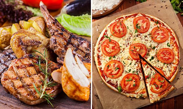 Gemischter Grillteller oder eine Pizza nach Wahl