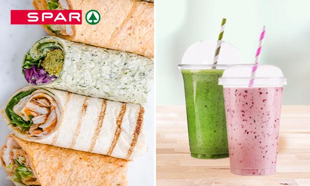 Afhalen: wrap + smoothie naar keuze bij Spar City Assen
