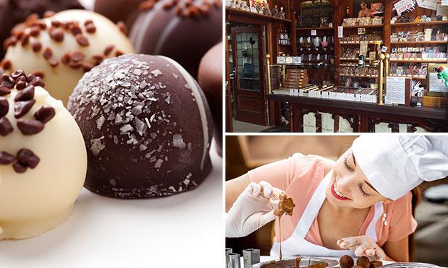 Entree chocolademuseum + chocoladehart decoreren