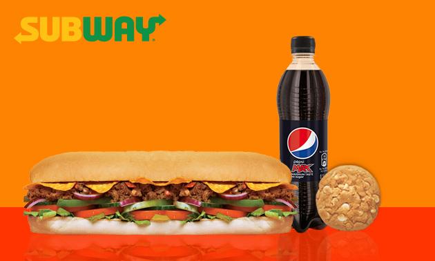 Afhalen bij Subway: broodje + chips/cookie + fris