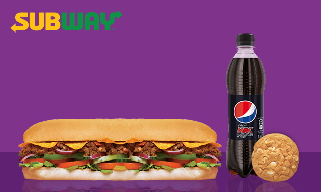 Bij Subway: broodje + frisdrank + cookie of chips