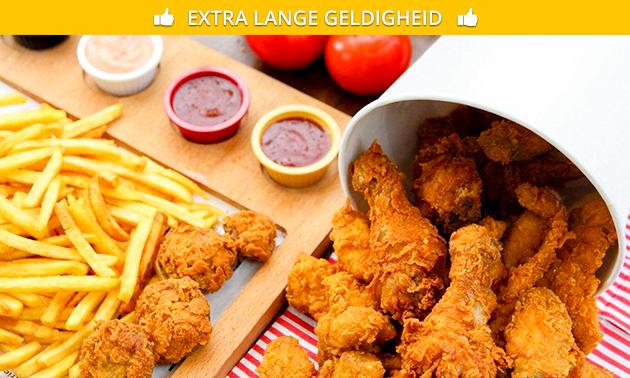 Afhalen: bucket chickenwings + patat + drankje