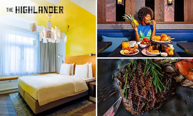 Overnachting(en) voor 2 + ontbijt + diner in hartje Amsterdam