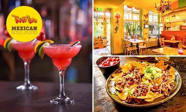 Afhalen: nacho's + Mexicaans bier of mojito's voor 2 bij Tortillas