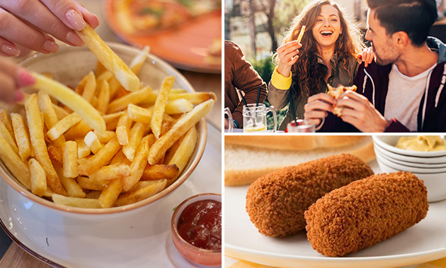 Afhalen: friet + saus + snack + bubble tea of fris
