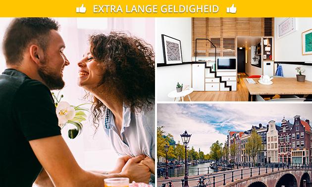 Overnachting voor 2 + ontbijt + drankjes in hartje Amsterdam